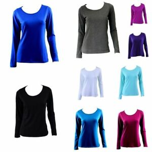 Women-039-s-Long-Sleeve-Crew-Neck-Soft-Stretch-T-Shirt-Tee-Top-Basic-Plain-Colours
