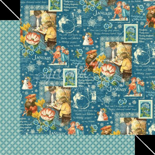 Papers VINTAGE 2 Graphic45 JANUARY MONTAGE 12x12 Dbl-Sided Scrapbook