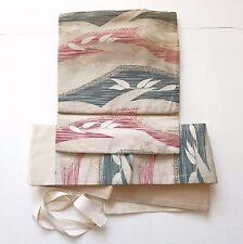 Vintage Japanese Beige Tsukuri Obi for Kimono Green Marron Leaves K105