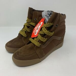 Vans-Womens-Sk8-Hi-Skate-Shoes-Brown-High-Suede-Bison-Wedge-VN-OUDHAIW-10-New