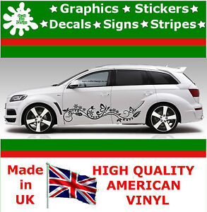 Details About New 2 X Stripes Flowers Butterfly Side Car Stickers Vinyl Car Decals Graphics