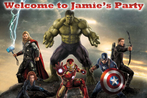 LARGE BIRTHDAY CAKE TABLE BACKDROP POSTER 1.5m x 1m Avengers Personalised Name