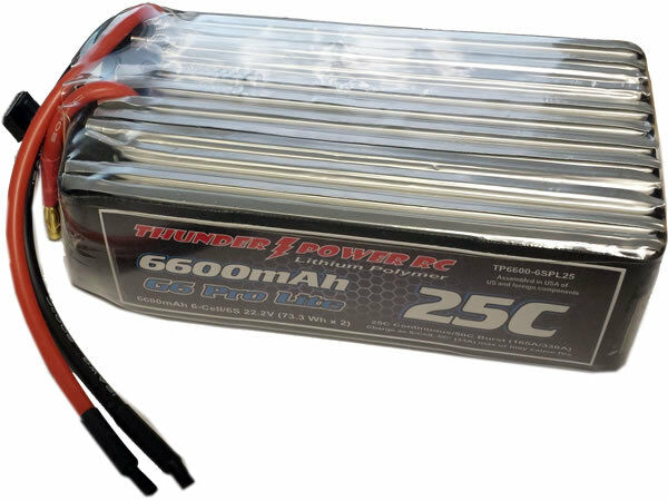 Thunder 6 S Power 6600 mAh 25 C Lite LiPo Pro