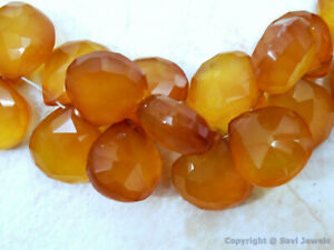 Citrine Chalcedony Faceted Hearts 10mm 2/4/6/8/10 Gemstone Beads Select Quantity