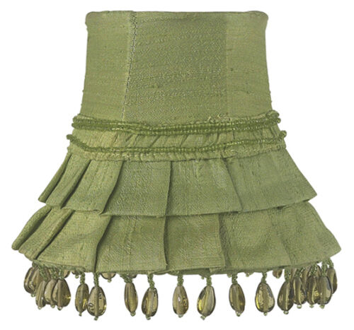 Green Pleated Skirt with Beads Chandelier or Sconce Clip-On Silk Shade 2001