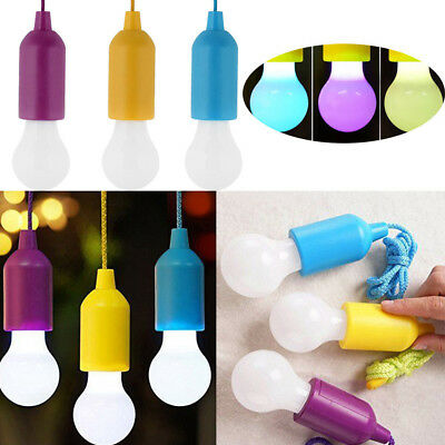 Portable LED Pull Cord Light Bulb Outdoor Garden Camping Hanging LED Light Lamp