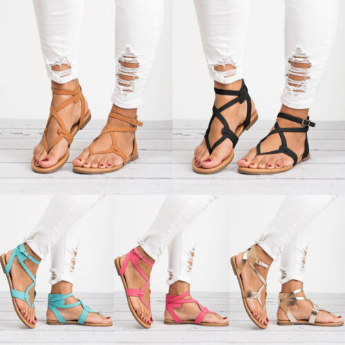 Women Ladies Gladiator Strappy Sandals Summer Braided Thong Beach Flat Shoes