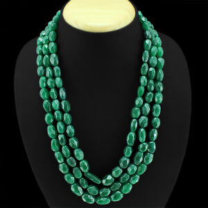 Absolutely Top Grade 774.00 Cts Earth Mined 3 Lines Green Emerald Beads Necklace Pratique Pour Cuire