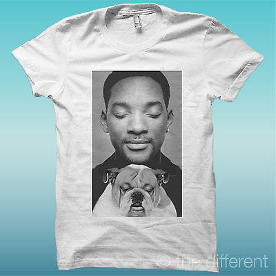 "Aggressivo T-shirt "" Will Smith Con Cane Dog "" Bianco The Happiness Is Have My T-shirt New"