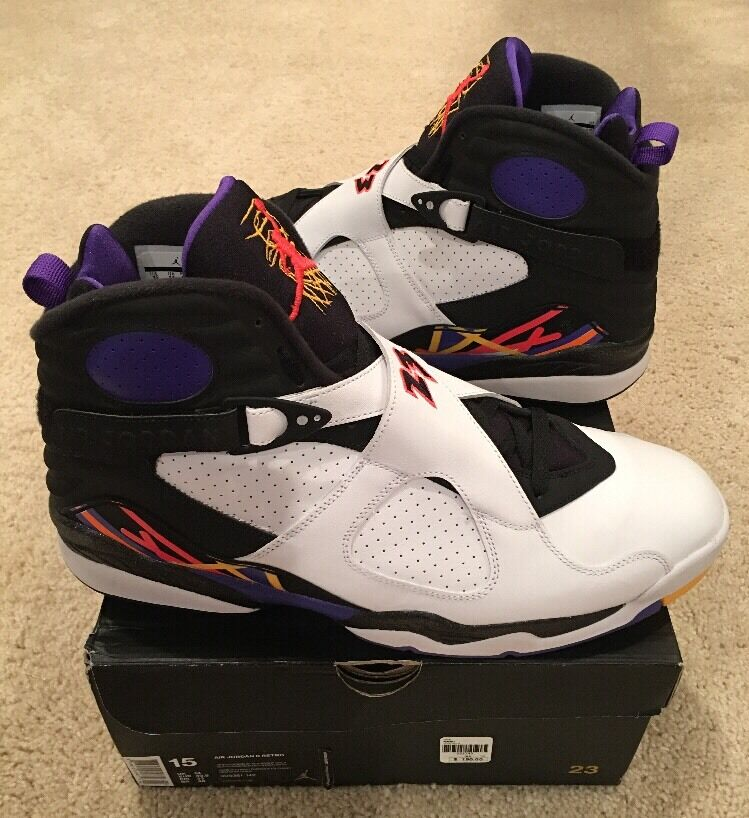 Nike Air Jordan Retro 8 VIII Three Peat Size 15 White Black Infrared 23 Concord