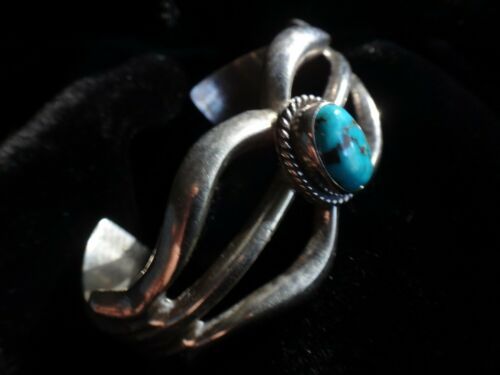 Sandcast Sterling and Turquoise Cuff