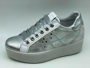 Dettagli su Sneakers Igi&co 5158600 argento e bianco zeppa 5 cm Made in Italy