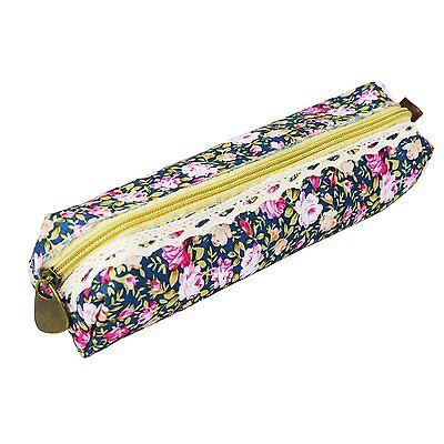 Girls Flower Lace Floral Pencil Case Pen Bag Purse Cosmetic Makeup Pouch Bag