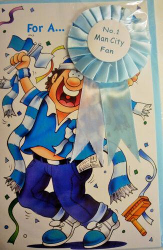 Premier League anglaise No.1 Fan de Football Homme Garçons Carte d/'anniversaire /& Rosette 19 Club
