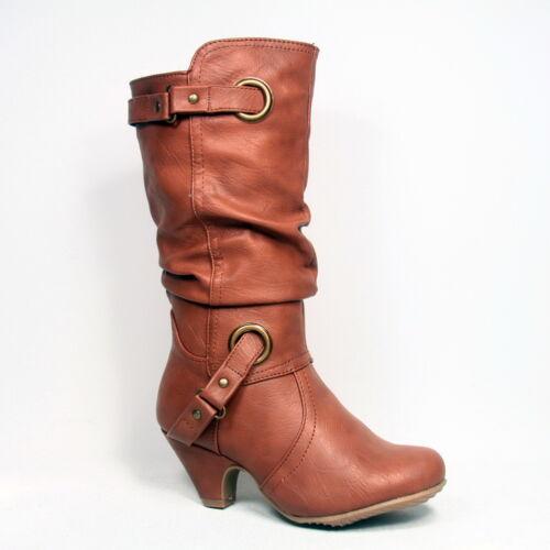 Gilr/'s Kid/'s Cute Low Heel Buckle Zipper Dress Boot Shoes NEW Size 9-4