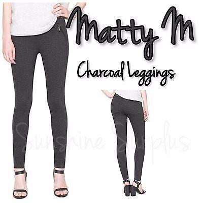 MATTY M Women/'s Faux Front Pockets Slimming Leggings CHARCOAL X-Small XS