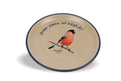Namensteller Flacher Teller mit Namen und Vogelbild Taufe Geschenkteller