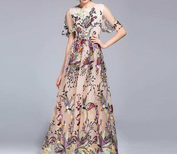 Luxury Women's Lace embroidery floral Party Maxi Short Sleeve runway Long dress