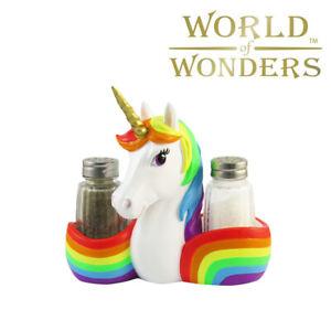 Rainbow Unicorn Salt Pepper Set Caddy Magical Unicorn Kitchen Home Decor 6 Ebay