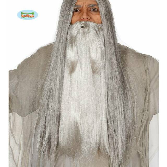 Wizard Sorcerer Wig And Beard Set Mens Fancy Dress Costume Accessory Adults
