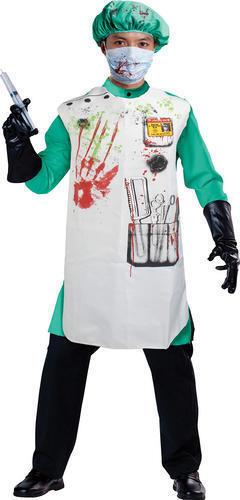 Halloween Zombie Doctor Set Bloody Apron /& Hat Fancy Dress Set Kit Blood Stained