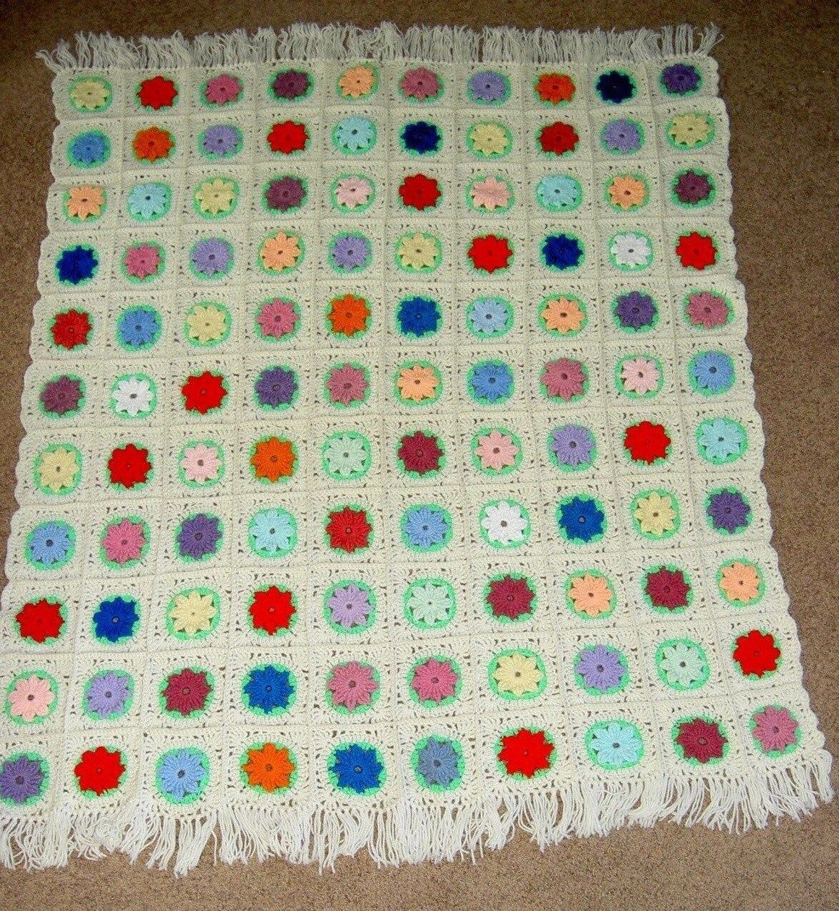 Vintage HANDMADE CROCHETED Cream Multi color Afghan Blanket Throw NEVER USED