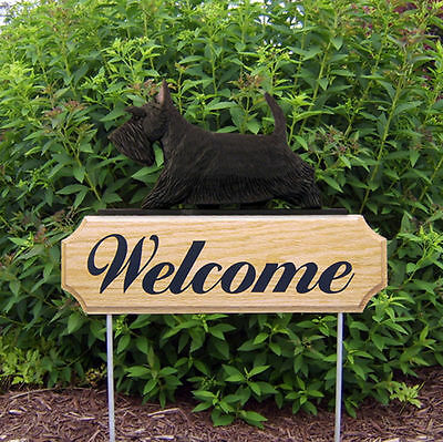 Scottish Terrier Dog Breed Oak Wood Welcome Outdoor Yard Sign Black