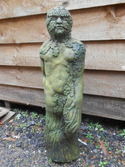 GREEN MAN STATUE GREENMAN - STONE GARDEN ORNAMENT JACK IN THE GREEN PAGAN