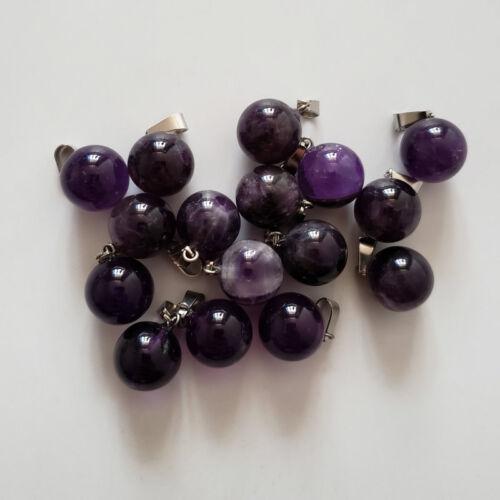 Wholesale 50pcs Fashion natural druzy amethyst stone round ball charms pendants