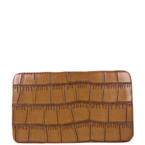BROWN CROCODILE LEATHERETTE LOOK FLAT THICK WALLET MONTANA WEST COUNTRY FASHION