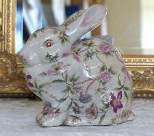 Porzellan Hase Craquele Skulptur Figur Osterhase Kaninchen Jugendstil Deko Antik