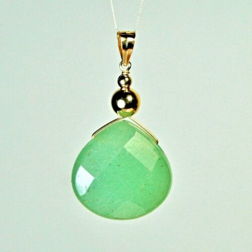 vert clair jade pendentif 14k solide Yell//or 13x13x7mm Faceted Natural Frosty