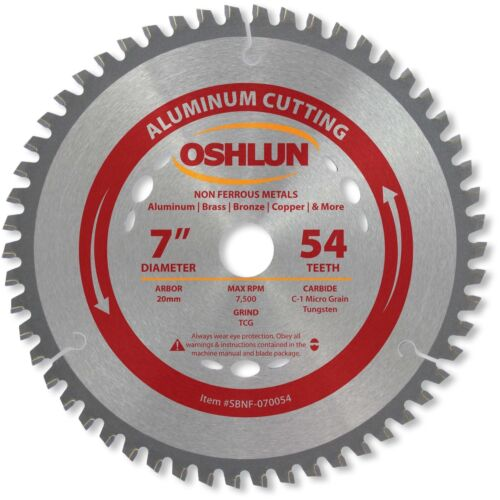Oshlun SBNF-070054 7-Inch 54 Tooth TCG Saw Blade with 20mm Arbor for Aluminum