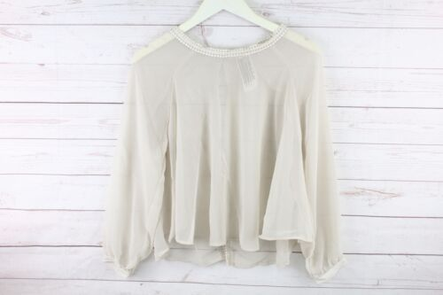 New Free People Womens Sky High Sheer Open Back Crop Top Long Sleeve Blouse $68