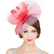 One size Rose Red Deacroy Womens Derby Hat Elegant Vintage Flower Mesh Party Feather Fascinator