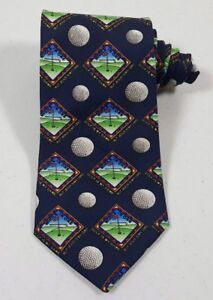 Ex-amp-CoKerusso-034-Golf-Is-My-Game-But-Jesus-Is-My-Lord-034-Men-039-s-Blue-USA-Made-Neck-Tie