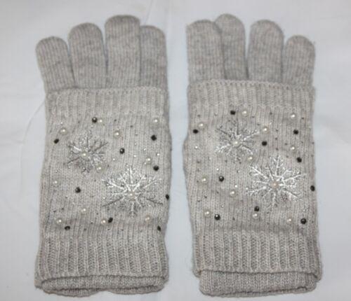 Femmes Jambières Gants 2 in 1 Paillettes Flocons de neige avec perles
