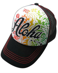 19fc86560 Details about Hawaiian Trucker Hat Cotton Front Mesh Back Adjustable Cap  Aloha Rasta NP