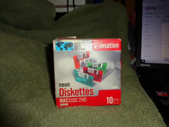 imation neon disketter 10 count 2hd mac formatted