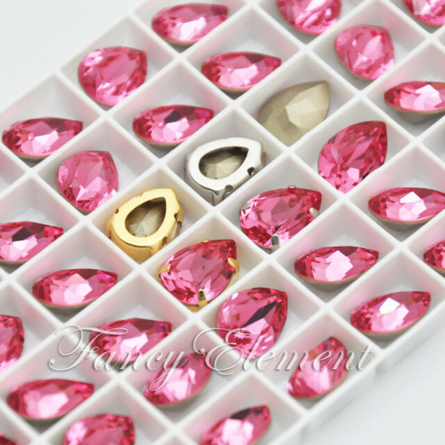 Swarovski 4320 Pear Rose Pink 14x10mm Crystal Metal Setting Sew On Rhinestones