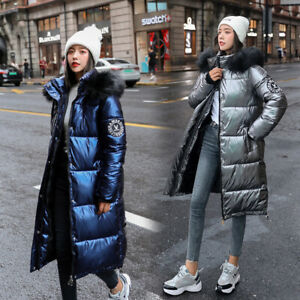 Winter-Women-Ladies-Warm-Down-Jacket-Hooded-Fur-Collar-Quilted-Puffer-Coat-Parka