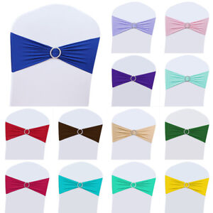 25/50/100/200 Spandex Stretch Chair Cover Band Sashes Buckle Bow Wedding Party