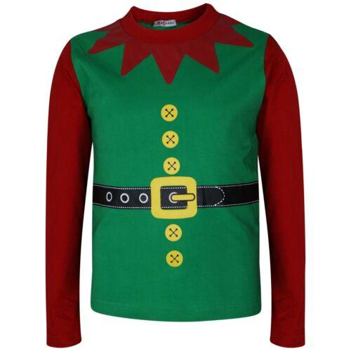 Bambini Ragazzi Ragazze Elf Christmas Pigiama Natale Festive Costume Top Bottom Pigiama 2-13Yr