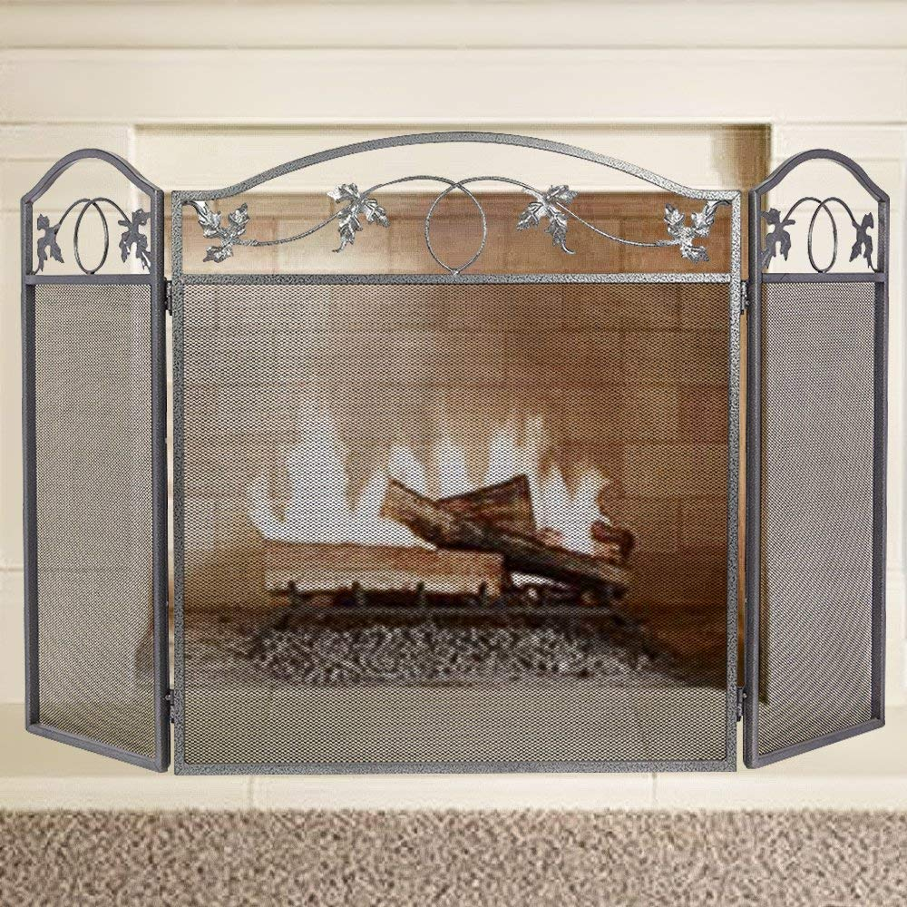 Fireplace Screen Outdoor Metal Leaf Fence 3 Panel Pewter Wro
