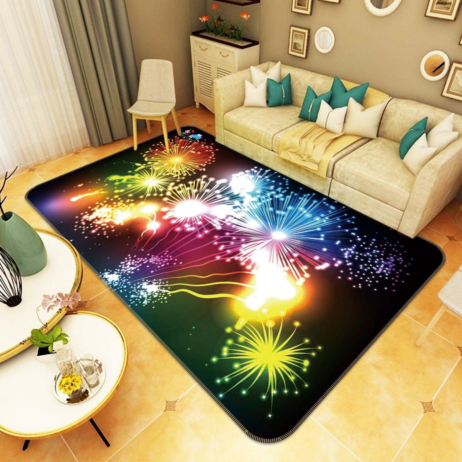3D NOTTE FUOCO D'ARTIFICIO 778 tappetino antiscivolo tappeto camera Tappetino Qualità Elegante foto Tappeto UK