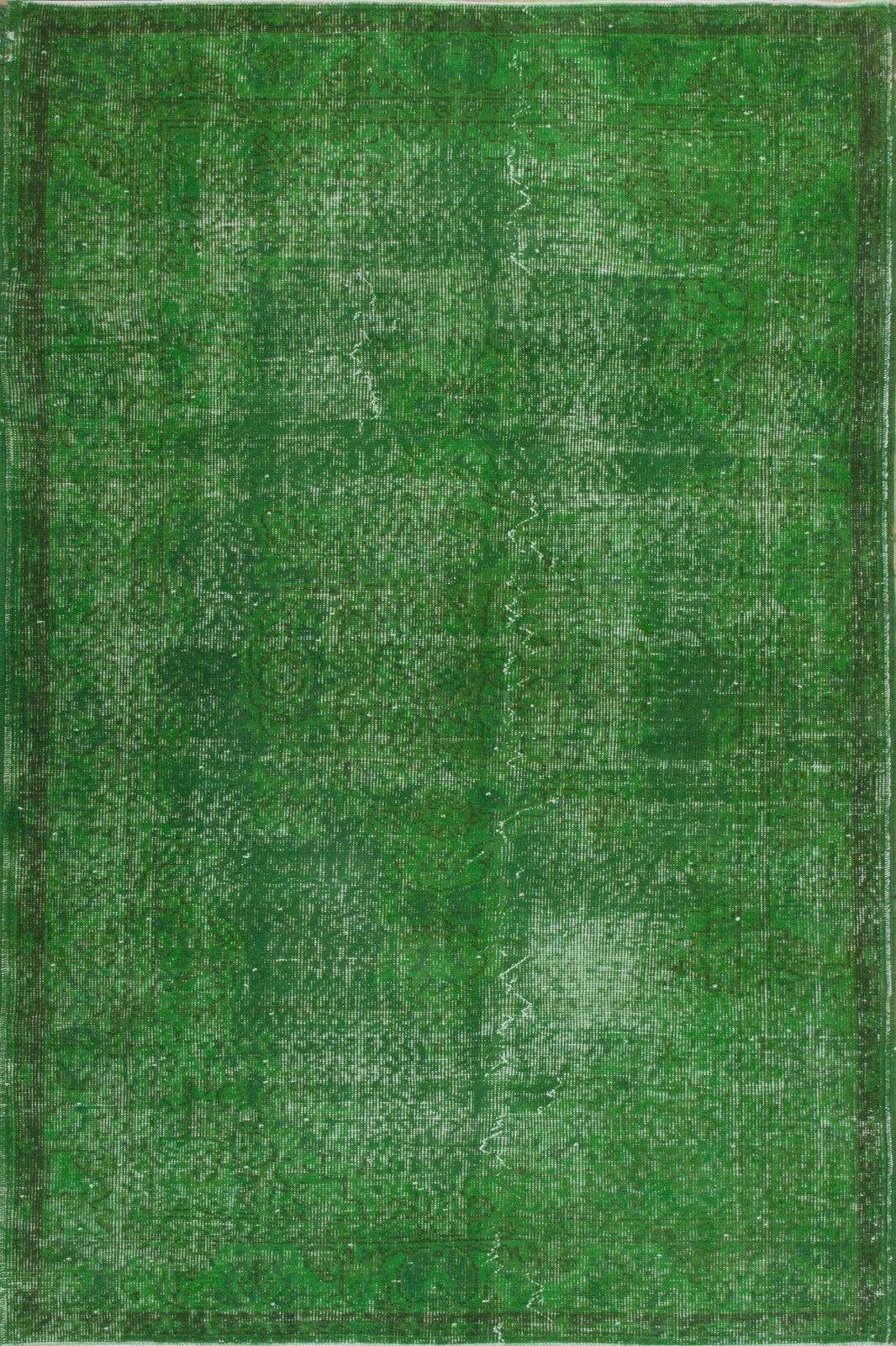 4x6.7 Ft  verde Coloree OVERDYED Handmade Vintage Turkish Rug   c38