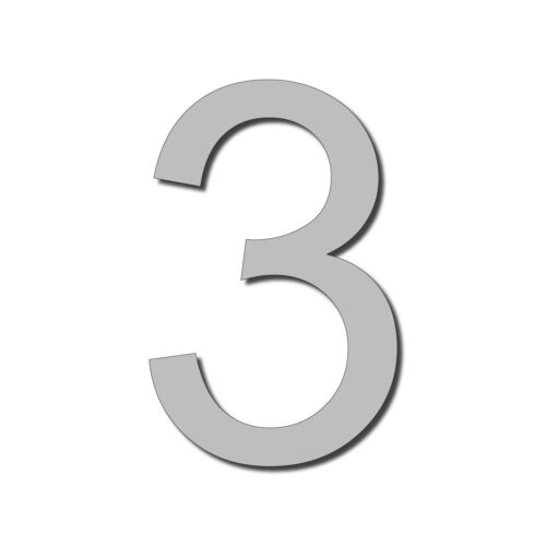 Floating HOUSE NUMBER Arial 3 acrylic large cool stylish modern gloss black DIY