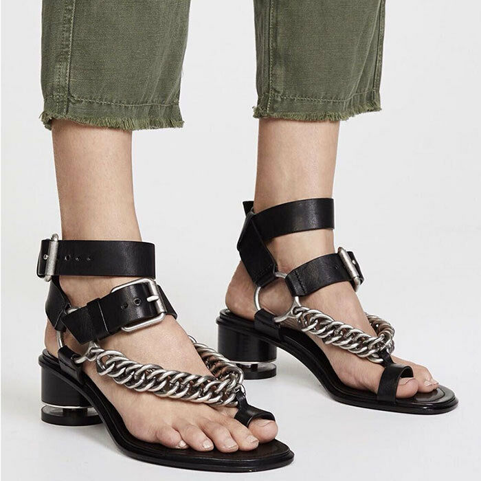 Gladiator women's Leather Metal Chain Toe Cut Ring Shoes Punk Cut Toe Out Sandals new 18 4d115b