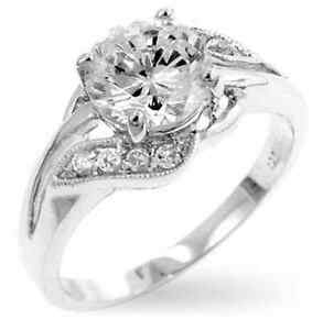 14K White Gold GB 2.25ct Round Cut Simulated Diamond Size 8 Engagement Ring G70