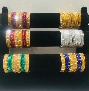 Indian Pakistani Kids Metallic Bangles With Gold Colour 24 Chudiya Girls chudi